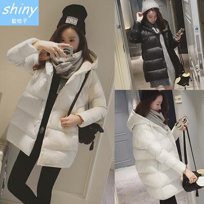 【V9393】shiny藍格子-冬緻風格.韓版寬鬆加厚保暖中長款連帽羽絨棉服外套