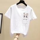 2021夏季新款寬松白色短袖T恤女裝竹節棉半袖打底衫韓版刺繡上衣