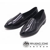 WALKING ZONE 尖頭亮面漆皮淺口工作鞋 女鞋-黑(另有藍)