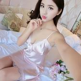 睡裙性感睡衣吊帶睡裙女夏絲綢家居服冰絲情趣中短裙無袖極度誘惑快速出貨