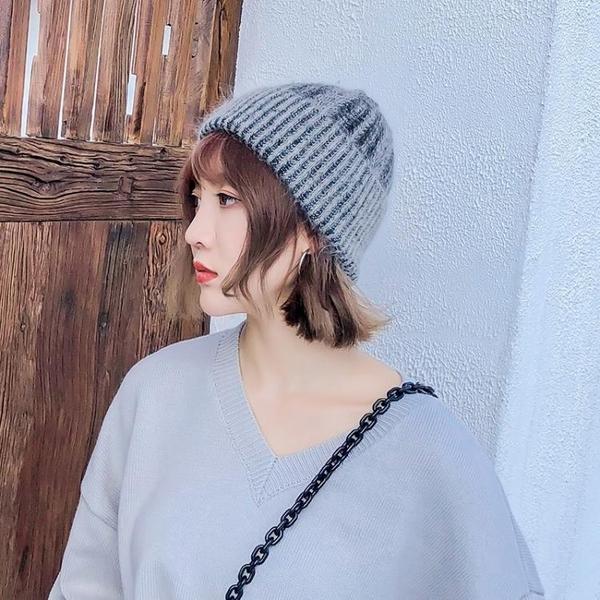 帽子女秋冬天兔毛帽韓版潮人雙層毛線帽休閒百搭簡約針織帽保暖帽