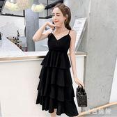 兩件式洋裝超仙中長款顯瘦連身裙2019夏季新款V領露肩氣質吊帶套裝cp34【黑色妹妹】