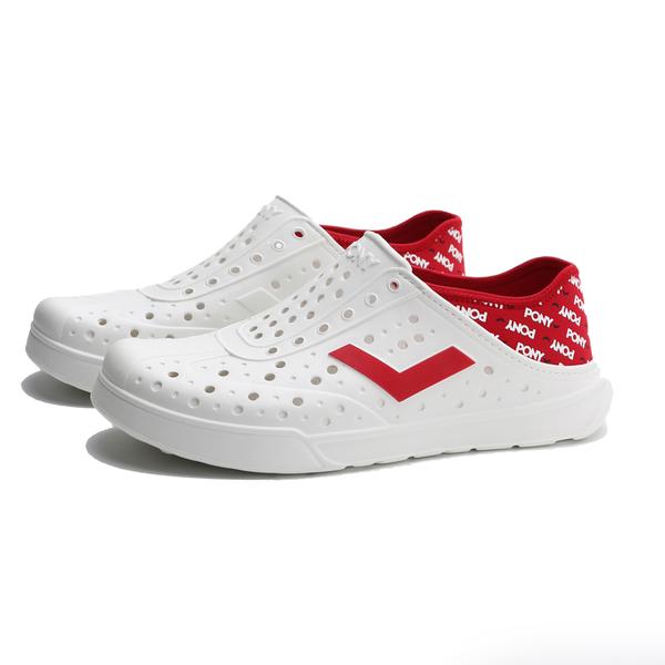 PONY 水鞋 白底 滿版紅LOGO 後跟可踩 洞洞鞋 水陸兩用 情侶 男女 (布魯克林) 02U1SA05RD