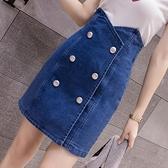 時尚韓版港風半身裙女2021新款高腰包臀牛仔裙網紅雙排扣A字裙 百分百