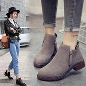 女短靴時尚馬丁靴圓頭單靴平底女靴中跟女鞋潮裸靴子 糖果時尚