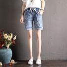 牛仔五分褲 夏季牛仔短褲女破洞寬鬆高腰翻邊顯瘦大碼學生五分褲刺繡-Ballet朵朵