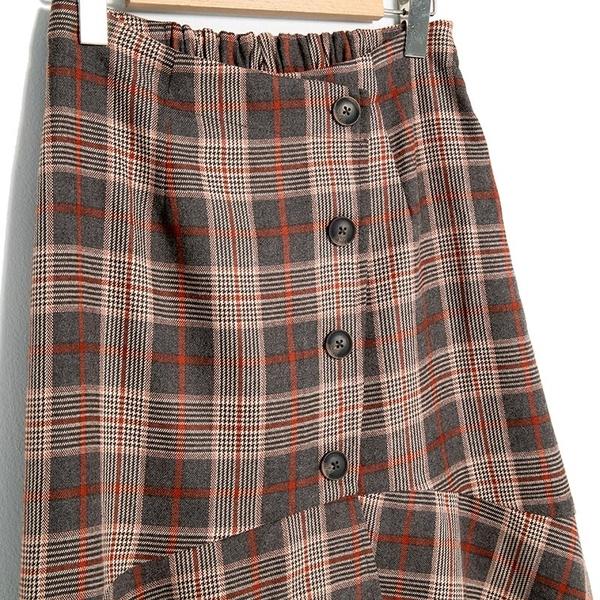 秋冬下殺↘5折[H2O]下擺波浪不對稱設計中長版格紋魚尾裙 - 咖格色 #9632020