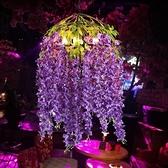 吊燈 音樂餐廳紫色花朵繁華酒吧音樂火鍋店裝飾植物 現貨快出YJT