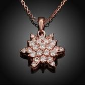 項鍊 玫瑰金純銀 鑲鑽吊墜-花朵綻放生日情人節禮物女飾品2色73br115【時尚巴黎】