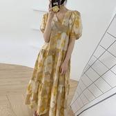 V領泡泡袖印花洋裝 獨具衣格 J3083
