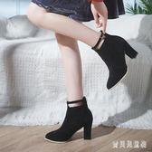 粗跟短靴 馬丁靴女短筒2018英倫風高跟尖頭短靴 BF8490『寶貝兒童裝』