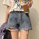 (交換禮物)夏裝女裝韓版高腰寬鬆顯瘦做舊破洞牛仔褲闊腿褲直筒褲短褲學生潮