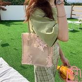 包包女蕾絲手提購物袋復古刺繡托特包單肩包側背包【匯美優品】