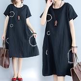 中大尺碼洋裝 大碼女裝棉麻連身裙2021夏季新款韓版文藝氣質顯瘦遮肚子藏肉t恤