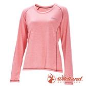 【wildland 荒野】女 圓領雙色抗UV長袖上衣『蜜粉紅』0A71613 T恤 上衣 女版 長袖 排汗 休閒 戶外 登山