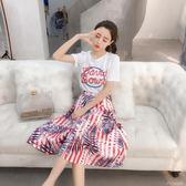 春夏新款韓版字母短袖T恤休閒套裝女小清新印花半身裙兩件套  ciyo黛雅