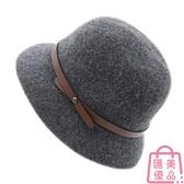 漁夫帽女英倫百搭盆帽羊毛帽針織帽秋冬季【匯美優品】