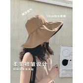 大帽檐黑膠防曬遮陽帽子女夏天遮臉防紫外線太陽帽UV漁夫帽 快速出貨
