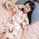 兒童睡衣女童夏季薄款冰絲短袖小孩套裝中大童親子母女寶寶家居服