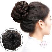 (低價促銷)丸子頭 假髪女髮圈頭花飾品盤髮花苞頭髮飾造型髮包仿皮質筋頭繩蓬鬆頭花