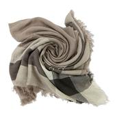 【COACH】羊毛混桑莫代爾圍巾披巾方巾禮盒(咖啡格紋)