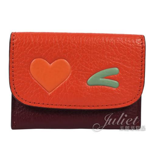 茱麗葉精品【現貨出清】COACH 11720 可愛圖案信用卡名片夾.橘/紫