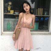 洋裝 復古小性感V領交叉顯瘦修身連身裙內搭單穿都可