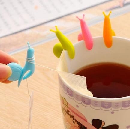 【TT165】韓國可愛矽膠蝸牛茶杯子區分辨認器咖啡奶茶店掛茶包器