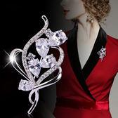 韓國名媛氣質花朵氣質水晶鋯石胸針女別針