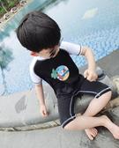 店長推薦 純色海2017新款夏季兒童泳衣超高彈力修身游泳連身服男童潛水服