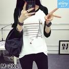 【V2738】shiny藍格子-秋季隨意.撞色拼接圓領印花長袖上衣