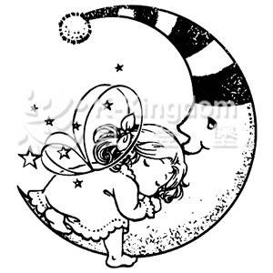 【貝登堡】楓木印章/木頭印章/木頭章 月亮與蝴蝶仙子寶寶 GT-5314