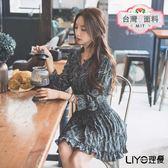 LIYO理優MIT V領圖騰荷葉洋裝L646001
