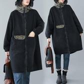 外套 秋冬韓版時尚加厚拼接豹紋連帽牛仔外套中長款流行拉鏈外套