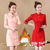 洋装-秋裝女旗袍改良保暖蕾絲加絨連身裙氣質修身大碼打底冬裙