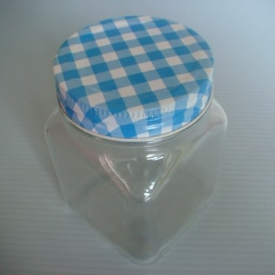 粉藍格子蓋四方儲物罐(400ml)/玻璃瓶/密封罐/收納罐/糖果罐/保鮮罐