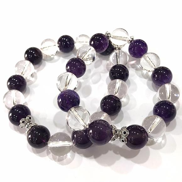 『晶鑽水晶』天然紫水晶+白水晶 純銀手鍊 約12mm圓珠 加強記憶力 開發智慧 男女都可配戴 附禮盒