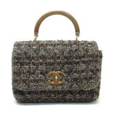 CHANEL 香奈兒 秋冬混色毛呢木質手提肩背包 Tweed Shoulderbag 【BRAND OFF】