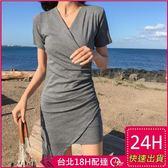 梨卡★現貨 - 甜美氣質性感V領顯瘦不規則洋裝連身裙短袖洋裝沙灘裙連身短裙C6411