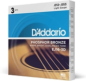 小叮噹的店- D'addario EJ16-3D 磷青銅 一組3套 木吉他弦 (12-53)