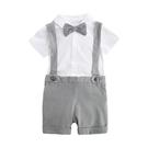 吊帶褲套裝 紳士寶寶短袖套裝小花童 短袖上衣吊帶褲套組 小鮮肉童裝 LYT39