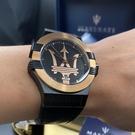 MASERATI瑪莎拉蒂男女通用錶,編號R8851108032,42mm玫瑰金, 黑錶殼,深黑色錶帶款