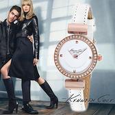 Kenneth Cole 迷你水鑽玫瑰金框白色皮帶女錶 28mm 公司貨 KC10022302 | 高雄名人鐘錶