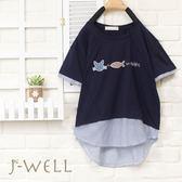 上衣 貓+魚拼接條紋上衣 8J1286 現貨 J-WELL