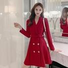 第二件4折 韓國風名媛純色V領雙排釦收腰...