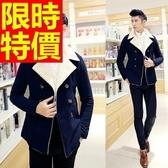 男款外套毛呢英倫風熱銷-自信保暖雙排扣短版男大衣61x49【巴黎精品】