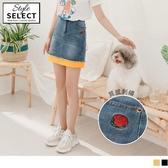 《KG0776》閨蜜系列~高含棉玫瑰刺繡拼接牛仔短裙 OrangeBear