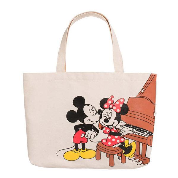 《花花創意会社》外流。鋼琴MICK插畫原色帆布手提包【H5206】
