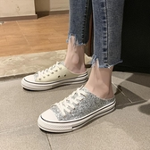 ins超火帆布鞋女韓版學生一腳蹬懶人鞋無后跟半拖小白鞋百搭布鞋 喜迎新春