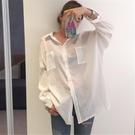 透視上衣 防曬襯衫女韓版bf中長款寬鬆薄透視棉麻上衣夏季白色長袖襯衣外套-Ballet朵朵